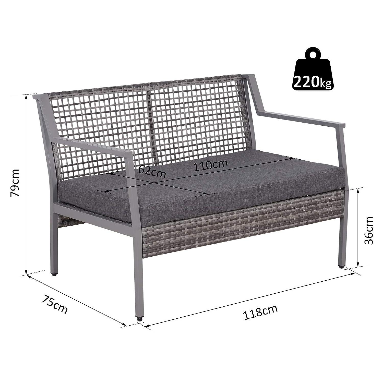Outsunny Sofá de Ratán Dos Plazas con Cojín Desmontable Sillón Mueble de Jardín 118x75x79cm para Patio Exterior al Aire Libre Gris