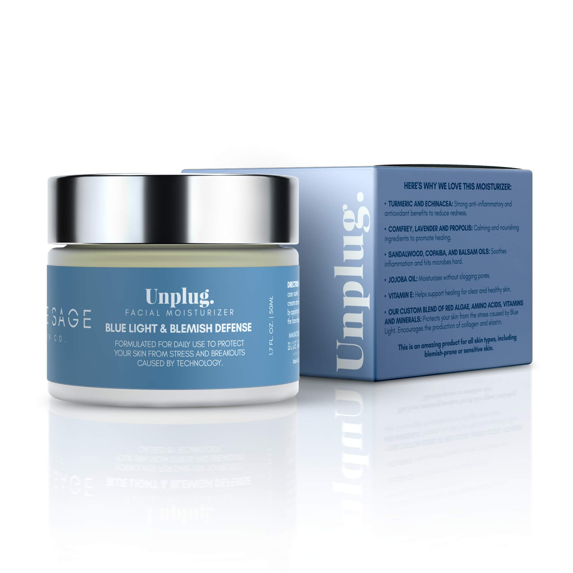 Blue Sage Blue Light + Blemish Defense Daily Facial Moisturizer | Natural Anti Acne and Anti Aging Cream with Turmeric Protects Skin From Harmful Rays Caused by the Sun and Technology