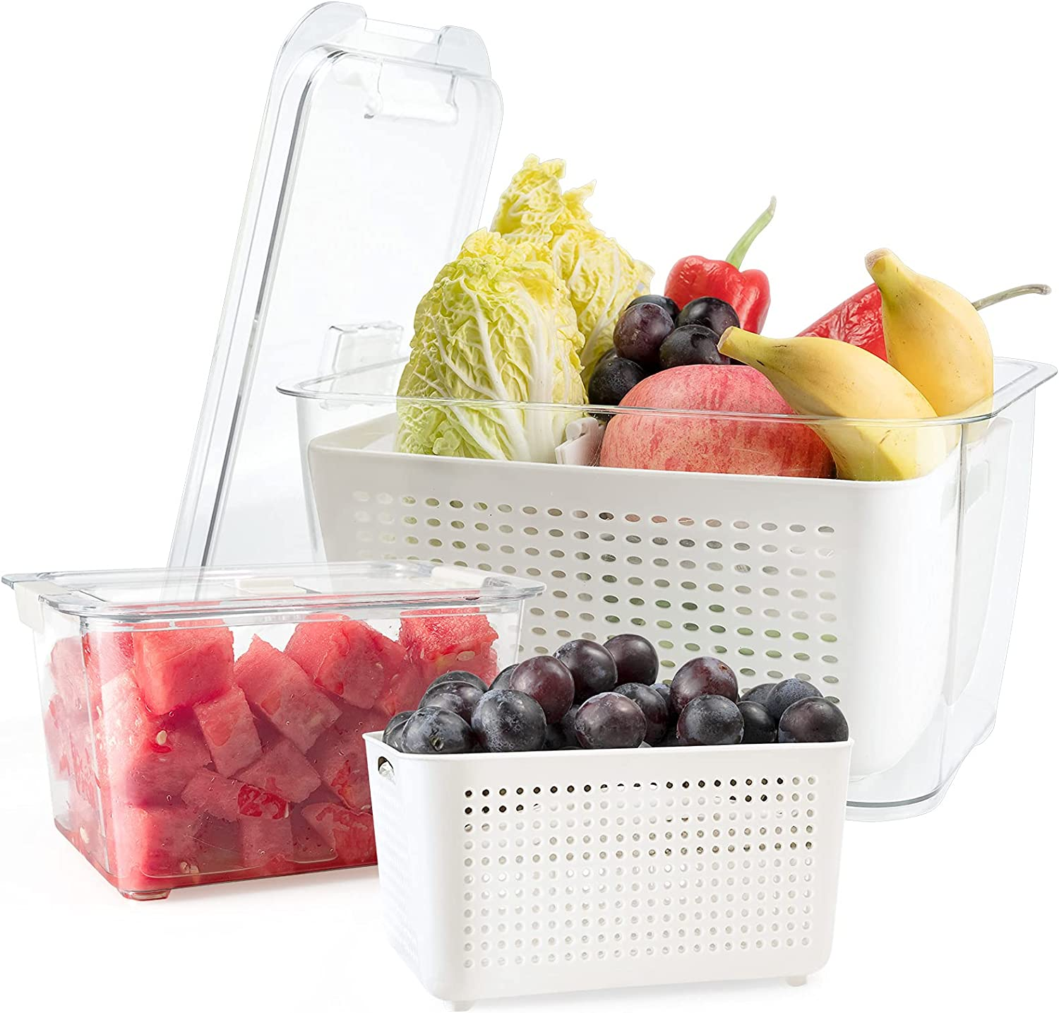 Rarapop 2 Pack Fridge Produce Saver Stay Fresh Containers with Strainers and Vented Lids, Food Storage Containers Refrigerator Organizer Bin Baskets for Veggie, Berry and Fruits (Large & Medium)