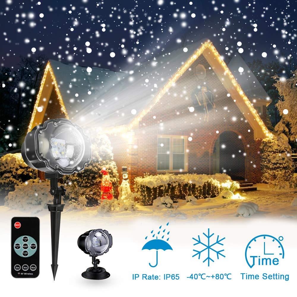 LED Projektionslampe mit Fernbedienung Bewegliche Punkte Muster Schneefall fü r Innen und Auß en mit Fernsteuerung, Beleuchtung als Gartenleuchte Projektor, Mauer Dekoration Party Weihnachten und Disco CYCMIA