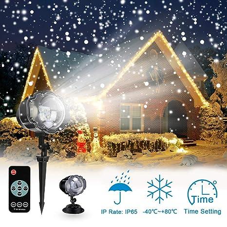 Proiettore Luci Di Natale Amazon.Proiettore Luci Led Natale Proiettore Fiocchi Di Neve Star Spotlight Di Paesaggio Lampada Led Con Impermeabile Ip65 Due Temperature Di Colore