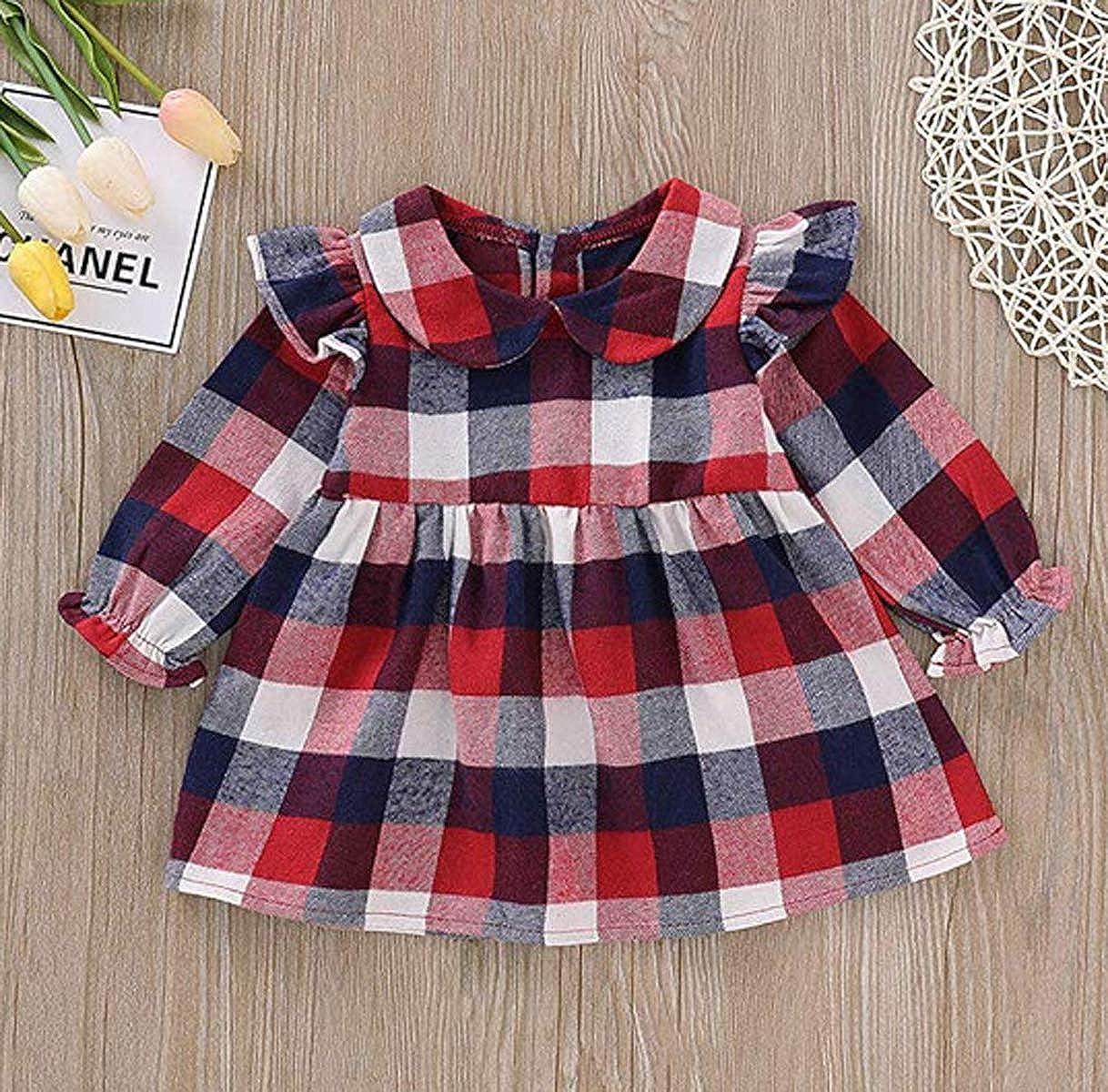 Newborn Infant Baby Girl Long Lantern Sleeve Ruffles Plaid Skirts Peter Pan Collar Party Princess Dress Outfits 0-24M