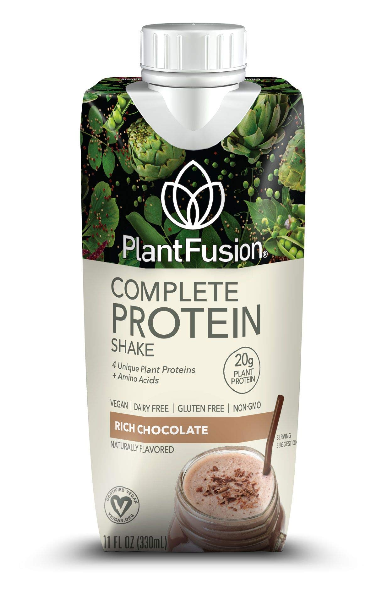 PlantFusion Complete Ready to Drink Plant Based Protein Shake, Chocolate, 11 oz  Carton, 12 Count, Gluten Free, Non-GMO by PlantFusion