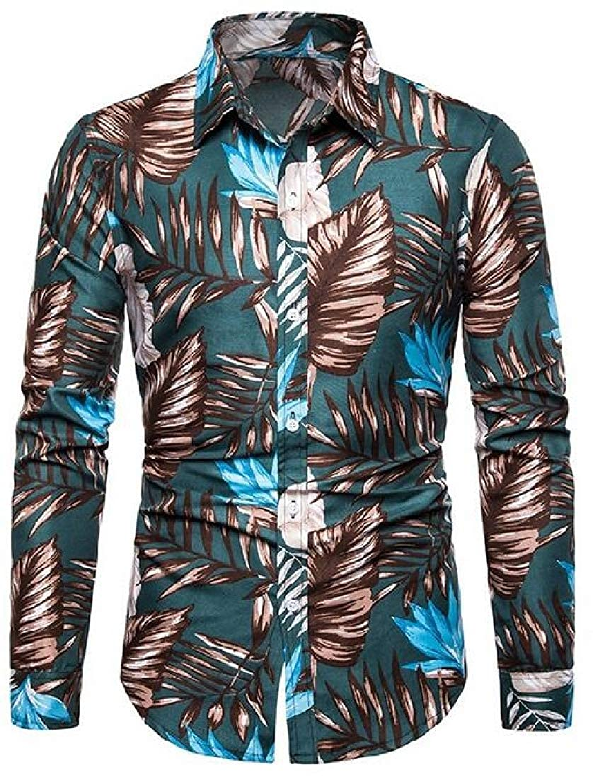 YYear Mens Beach Shirts Printing Casual Slim Button Up Long Sleeve Shirt Top