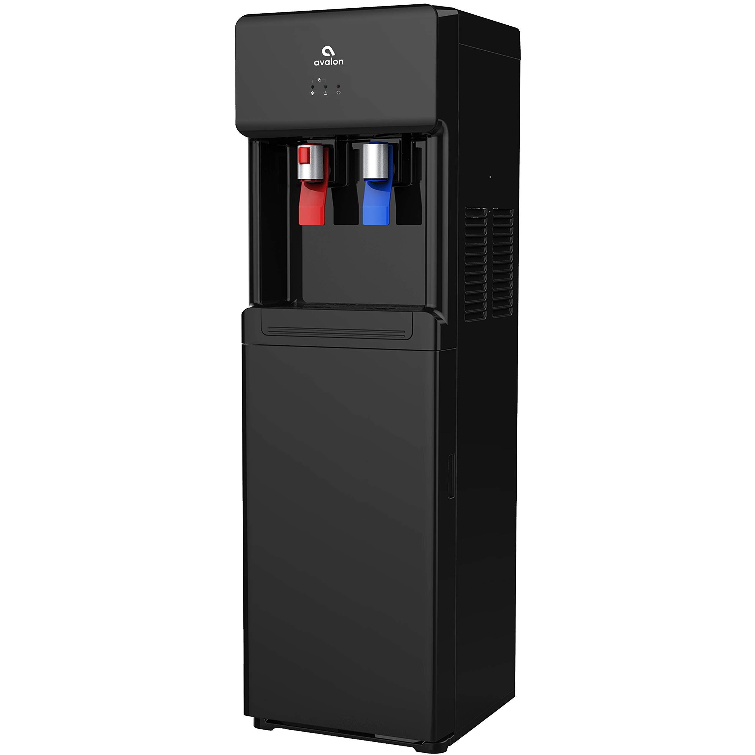 Avalon A6BLK A6 Bottom Loading Cooler Dispenser-Hot & Cold Water, Child Safety Lock, Innovative Slim Design (Black), free standing, (Renewed) by Avalon