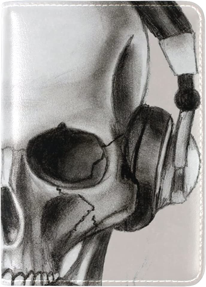 LEISISI Skull Wearing Headphones Genuine Real Leather Passport Holder Cover Travel Case