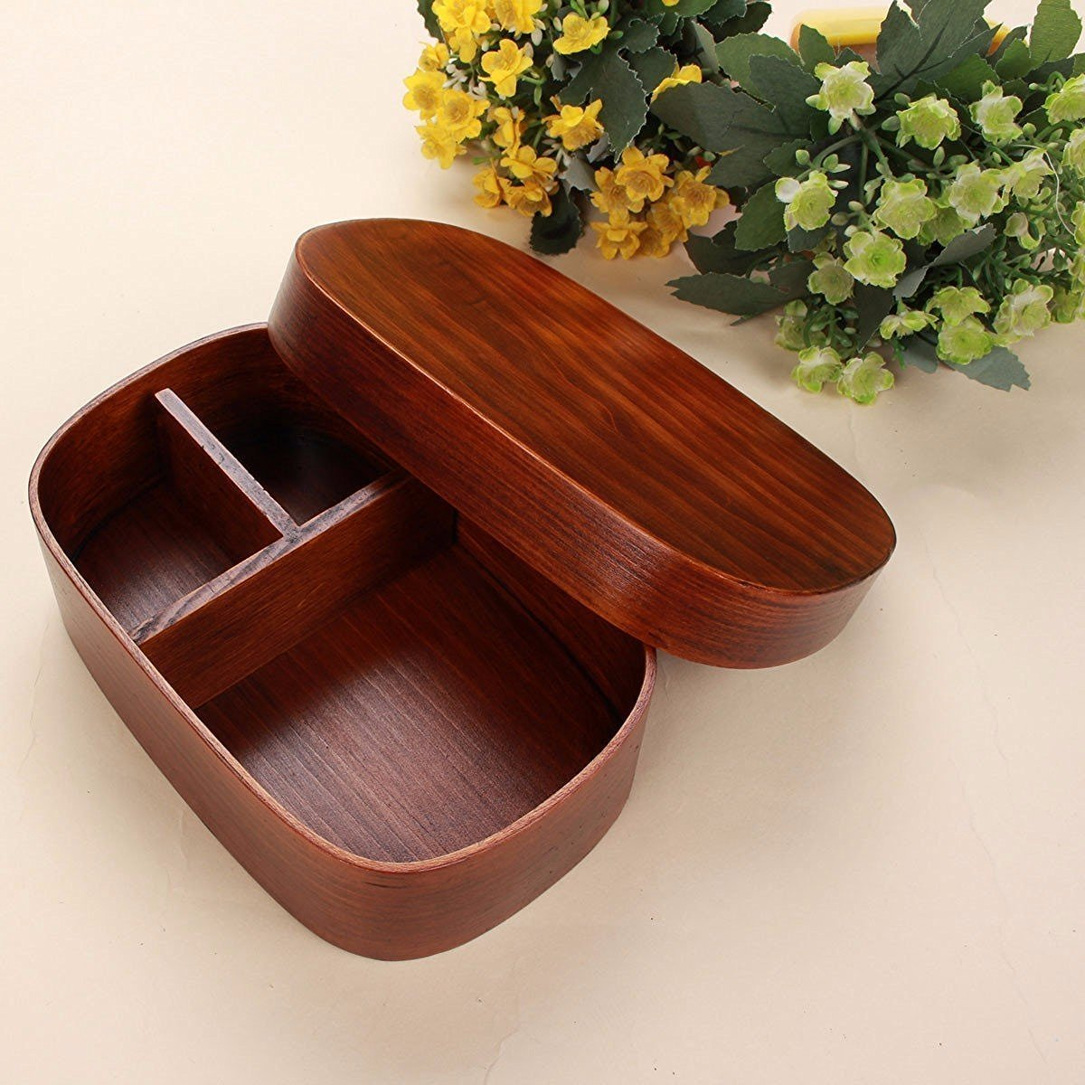 AsentechUK® Japanese Style Wooden Reusable Lunch Box Bento Box Food Fruit Sushi Boxes TRTA11A