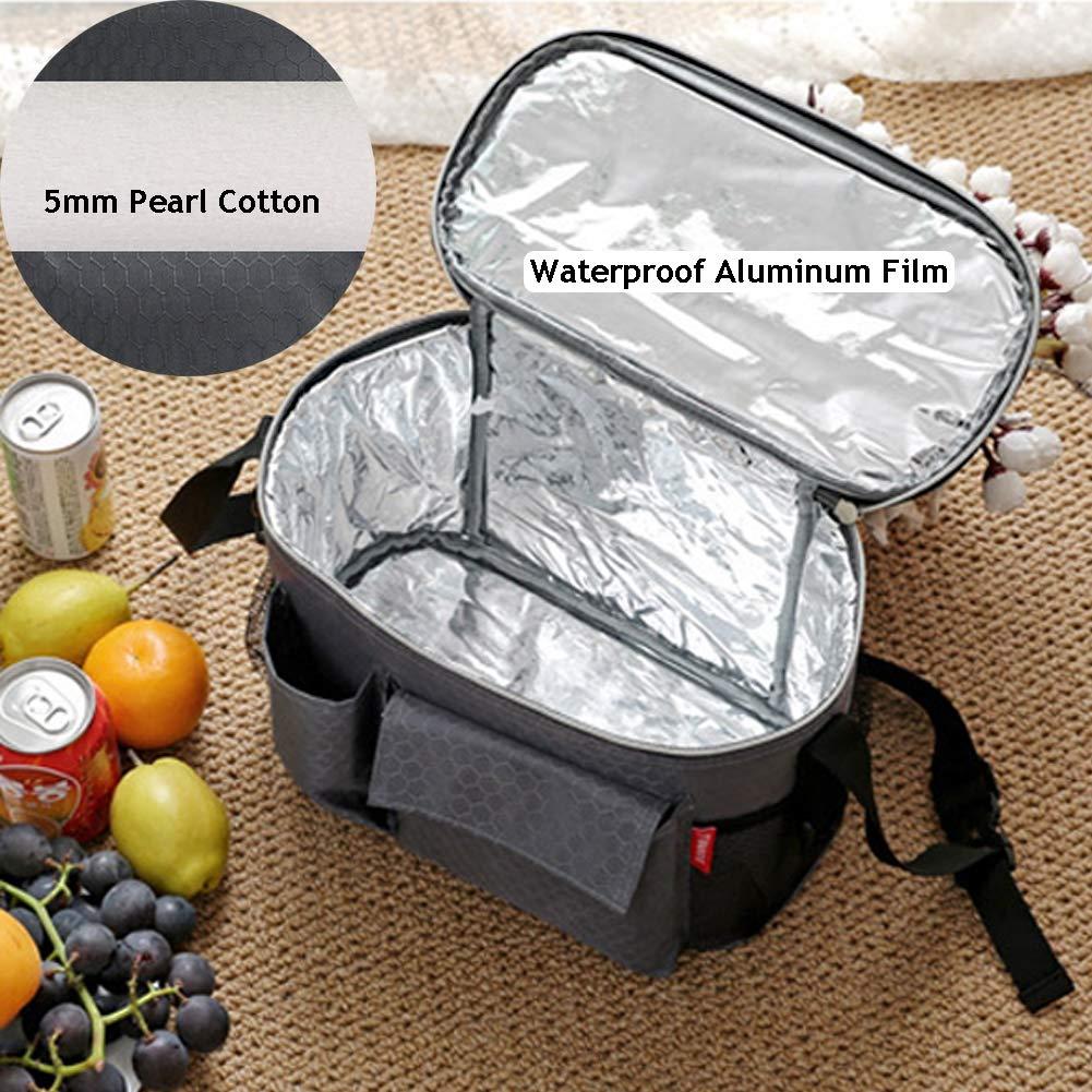 Partys SYJJE Isolierte Lunchpaket 8l Wasserdichte Lunchpaket-picknicktasche Reisen Oxford-Schultertasche grau Geeignet F/ür Picknicks