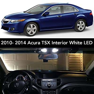 2009- 2014 Acura TSX Interior White LED Kit + License Plate (Complete 15PC Light Bulb Set) (3 Dome/ Map, 4 Vanity, 4 Door/ Courtesy, 2 Trunk, 2 License Tag) Sedan & Wagon -2010, 2011, 2012, 2013: Automotive