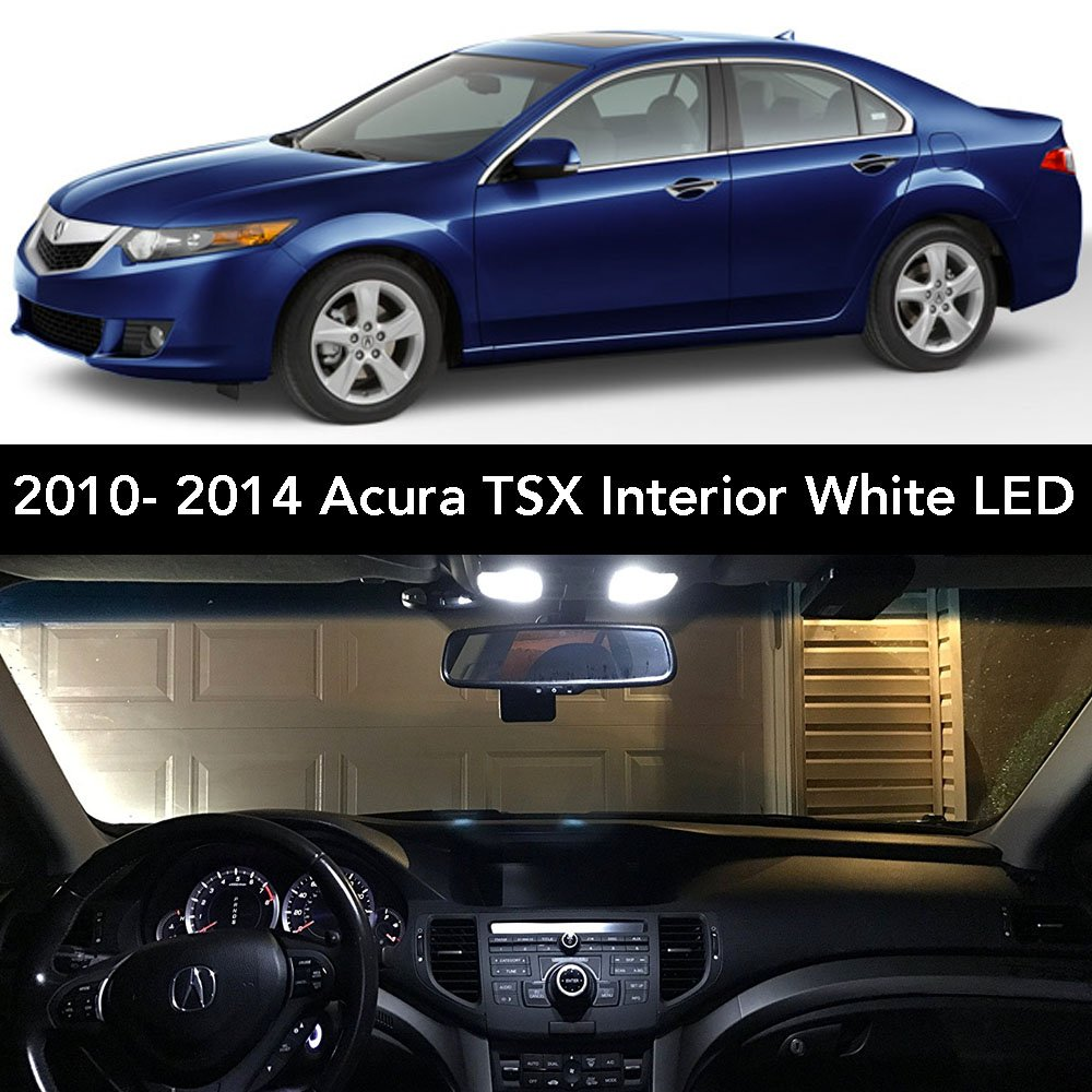 2009- 2014 Acura TSX Interior White LED Kit + License Plate (Complete 15PC  Light Bulb Set) (3 Dome/ Map, 4 Vanity, 4 Door/ Courtesy, 2 Trunk, 2