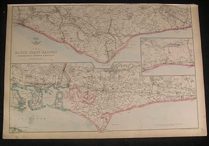 Map Of England Portsmouth.England South Coast Railway Portsmouth Hastings Brighton C 1863