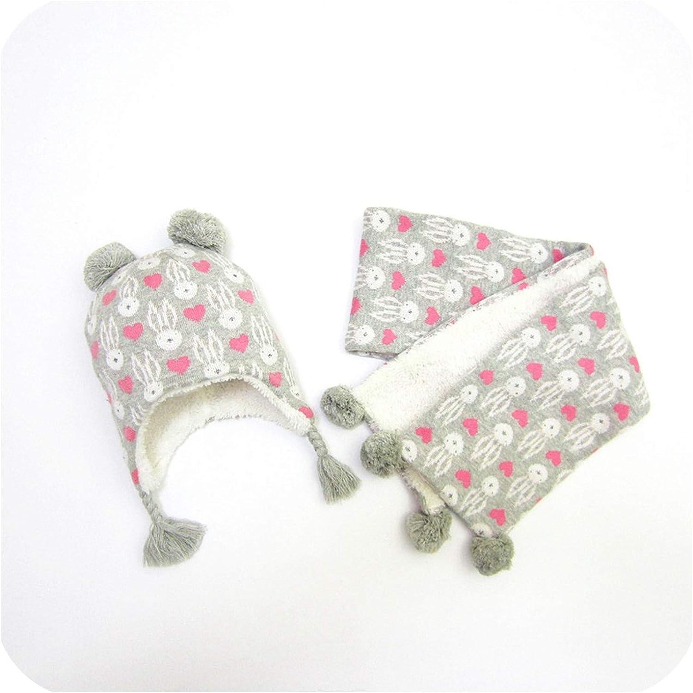 Baby Hat Scarf Set Love Bunny Jacquard Child Knit Cap Autumn Winter Hat Girls Hats Baby