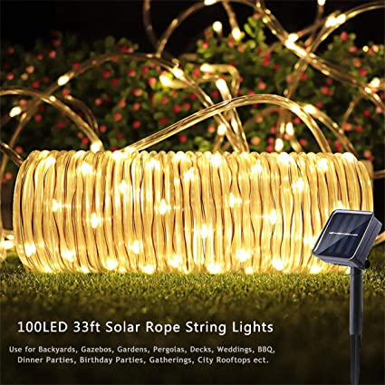 premium selection a570e 105e3 Outdoor Solar Rope Lights 8 Lighting Modes 100 LED(33ft) Waterproof Copper  Wire String Fairy Christmas Lights Ideal for Christmas Tree Halloween ...