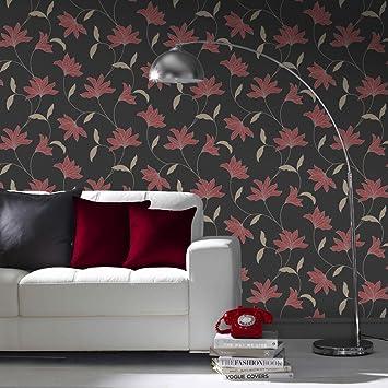 Papier Peint Super Fresco Noir Rouge Rose Full 10m Roll