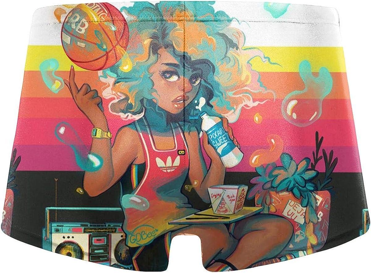 Malestory Vaporwave Black Girl Play Basketball Mans Summer Fashion Quick-Drying Beach Swim Suits