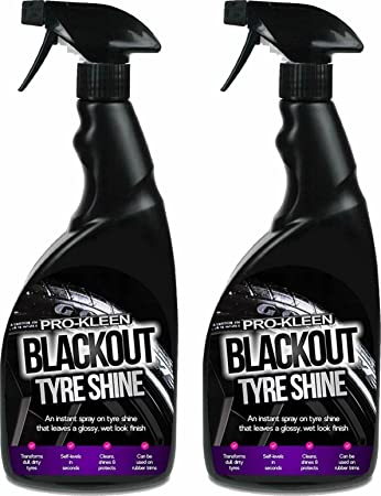 Pro-Kleen Blackout Tyre Shine Spray for a Wet Look Glossy Finish