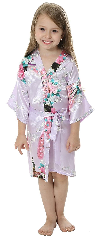 JOYTTON Girls' Satin Kimono Peacock Flower Robe For Spa Party Wedding Birthday