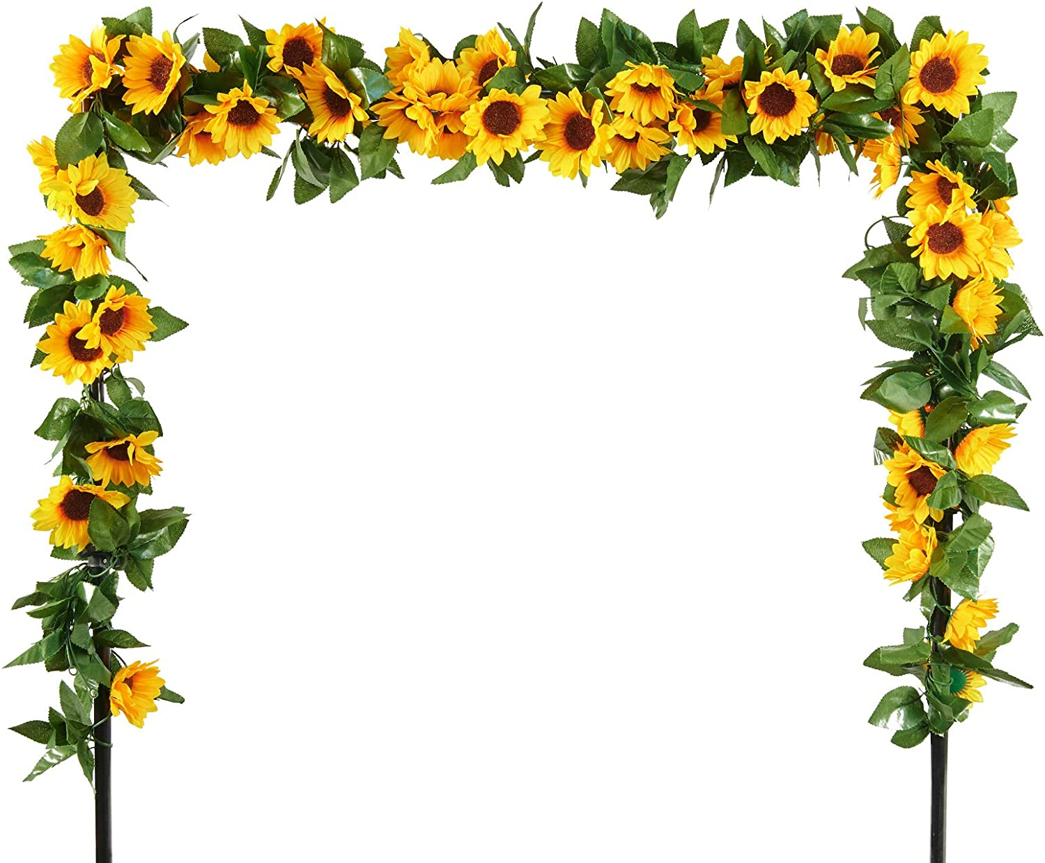 FSALS 6 Pack Sunflower Artificial Garland, 7.2FT Silk Sunflower Vine Yellow Artificial Flowers with Green Leaves for Wedding Table Garden Home Outdoor Decor