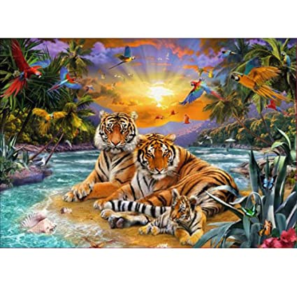 5D Full Diamond Painting DIY Tiger Embroidery Cross Stitch Kit Room Decor Craft