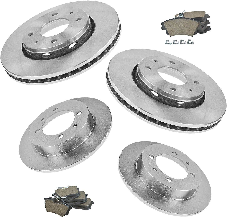 Nakamoto Brake Rotor /& Semi Metallic Brake Pad Rear Left Right Kit Set for Volvo