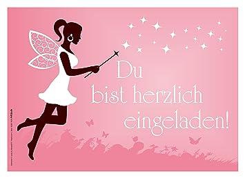 6 Einladungskarten Mädchen Geburtstag Fee Elfe Zauberstab Rosa