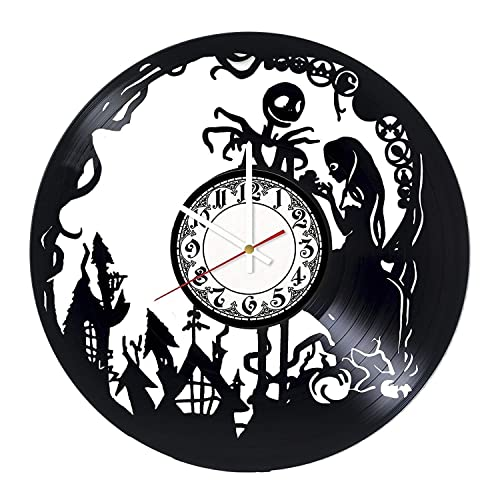 Nightmare Before Christmas Dark Handmade Vinyl Record Wall Clock – Get unique bedroom or nursery wall decor – Gift ideas sister and brother Musical Film Unique Modern Art Design