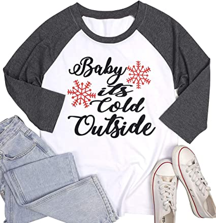 Plus Size Baby Its Cold Outside Baseball T-Shirt Women Christmas Snowflake 3//4 Sleeve Raglan Top Tees