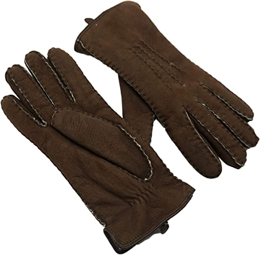 One Pair Men/'s winter driving gloves brown color leather sheep Italian fashion