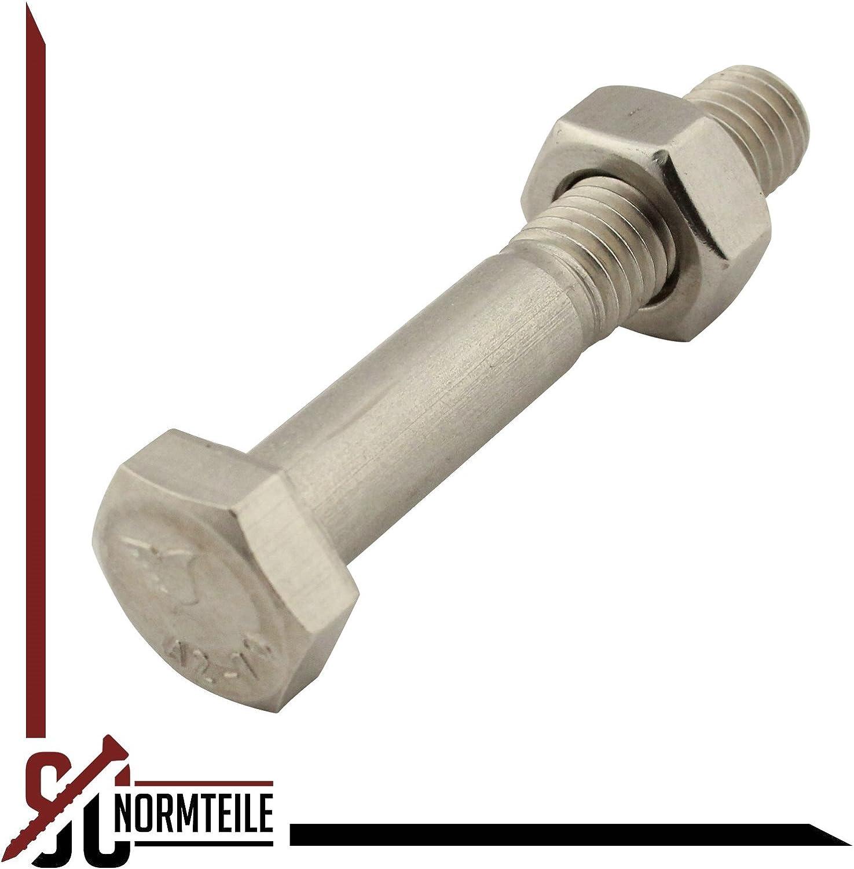 SC-Normteile/® M5x90 - 10 St/ück V2A - Maschinenschrauben Sechskantschrauben mit Schaft und Sechskantmuttern Edelstahl A2 DIN 931 // DIN 934 - SC931 // SC934