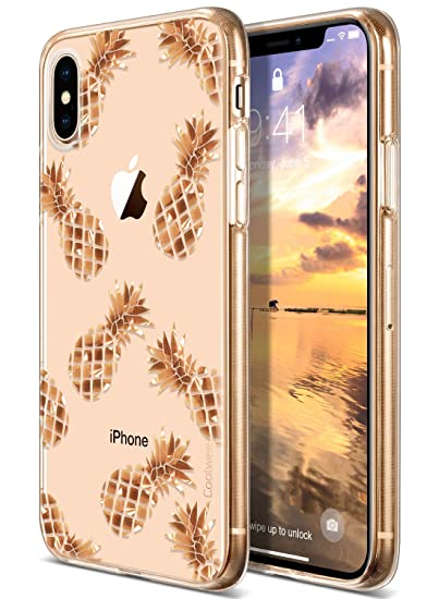 Coolwee iPhone Xs Max Case Rose Gold Pineapple Floral Case for Women Girl  Men Foil Clear Design Shiny Glitter Hard Back Case with Soft TPU Bumper