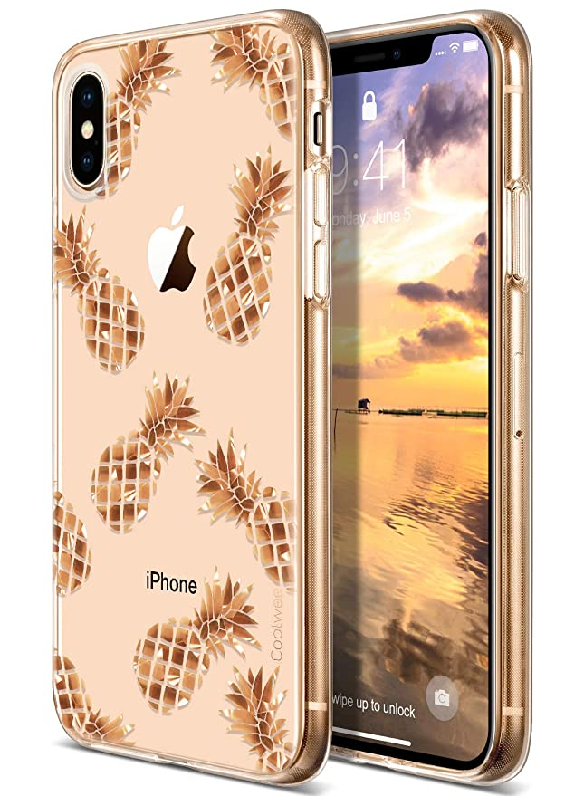 Coolwee I Phone Xs Max Case Rose Gold Pineapple Floral Case For Women Girl Men Foil Clear Design Shiny Glitter Hard Back Case With Soft Tpu Bumper Cover For Apple I Phone Xs Max 6.5 Inch 2018 Pineapple by Coolwee
