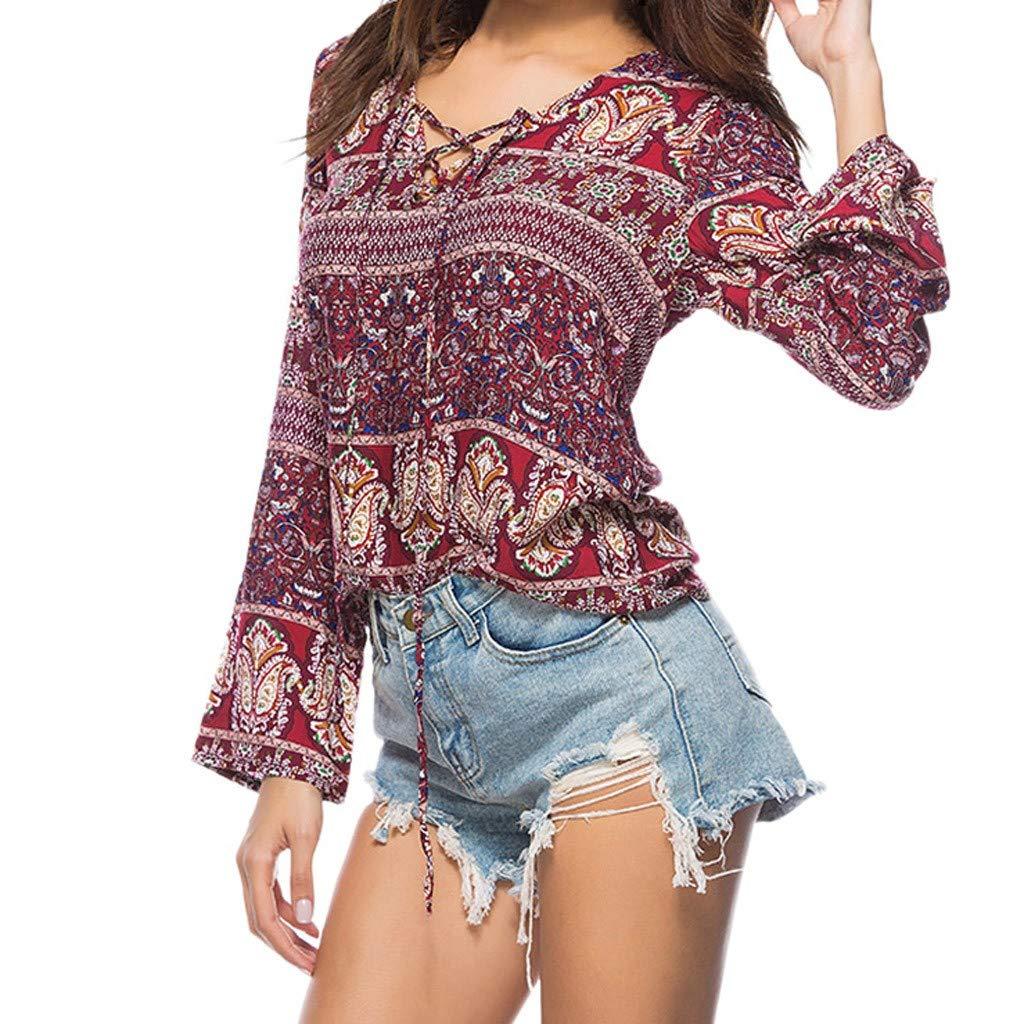 Robemon♚Mode Retro Bohême Style Chemisiers Femme Fille Chemise Shirt Manches Longues Impression Tops Blouse T-Shirt