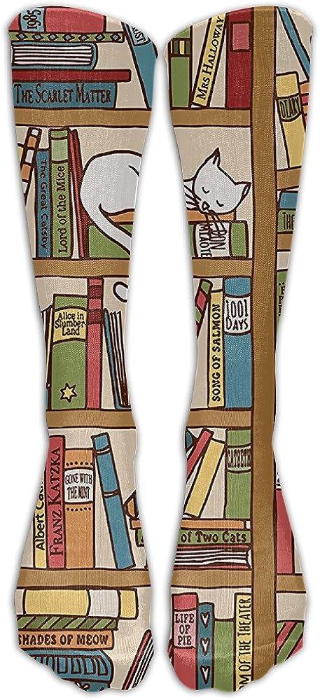 QCa Stocking Nerd Book Lover Kitty Sleeping Over Bookshelf in Library Academics Unisex Outdoor Knee High Long Tube Socks