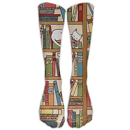 QCa Stocking Nerd Book Lover Kitty Sleeping Over Bookshelf In Library Academics Unisex Outdoor Knee High