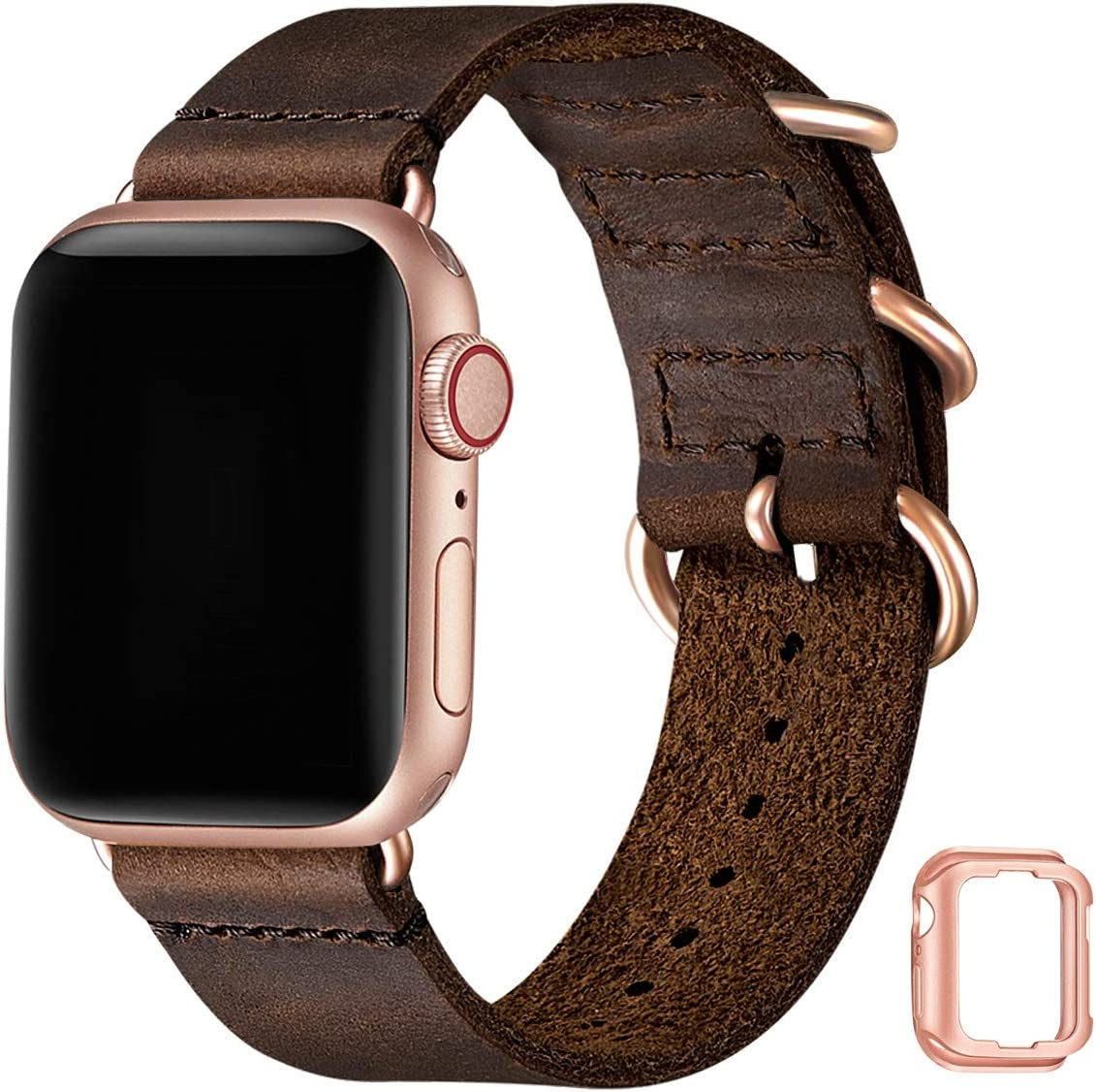 Vintage Leather Bands Compatible with Apple Watch Band 38mm 40mm 42mm 44mm,Genuine Leather Retro Strap Compatible for Men Women iWatch SE Series 6/5/4/3/2/1 (Coffee+Rose Gold Connector, 42mm 44mm)