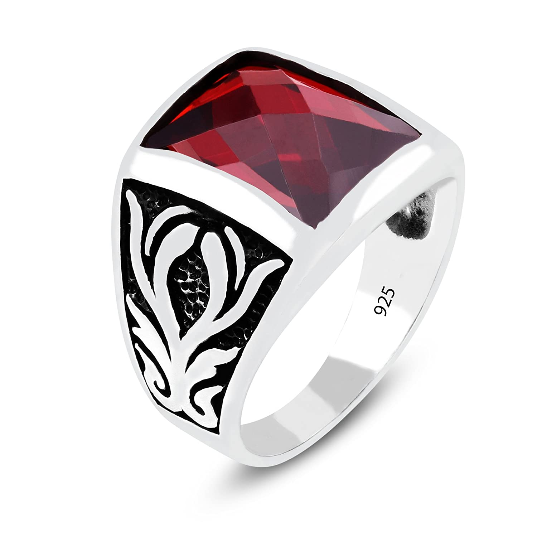 Turkish Ottoman Black Onyx Gemstone Solid 925 Sterling Silver Mens Ring Gemstone