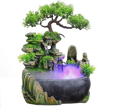 Amazon Com Tabletop Fountains Bonsai Resin Waterfall Fountain With Resin Fountain Tabletop Water Decoration Bonsai Decoration Indoor Desktop Fountain 11inch Home Kitchen