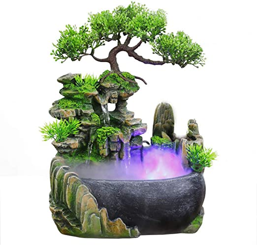Amazon Com Tabletop Fountains Bonsai Resin Waterfall Fountain With Resin Fountain Tabletop Water Decoration Bonsai Decoration Indoor Desktop Fountain 11inch Home Kitchen