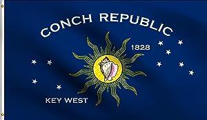 DMSE Conch Republic Key West Florida Keys Flag 2X3 Ft Foot 100% Polyester 100D Flag UV Resistant (2'X3' Ft Foot)