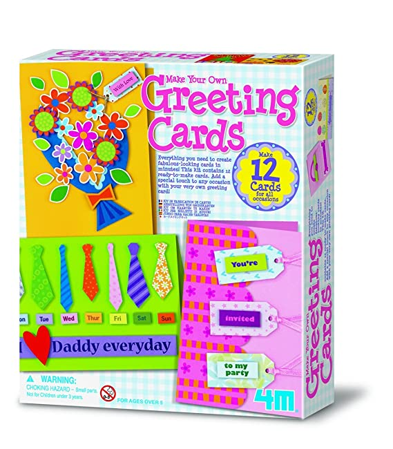Amazon 4m make your own greeting cards kit toys games m4hsunfo