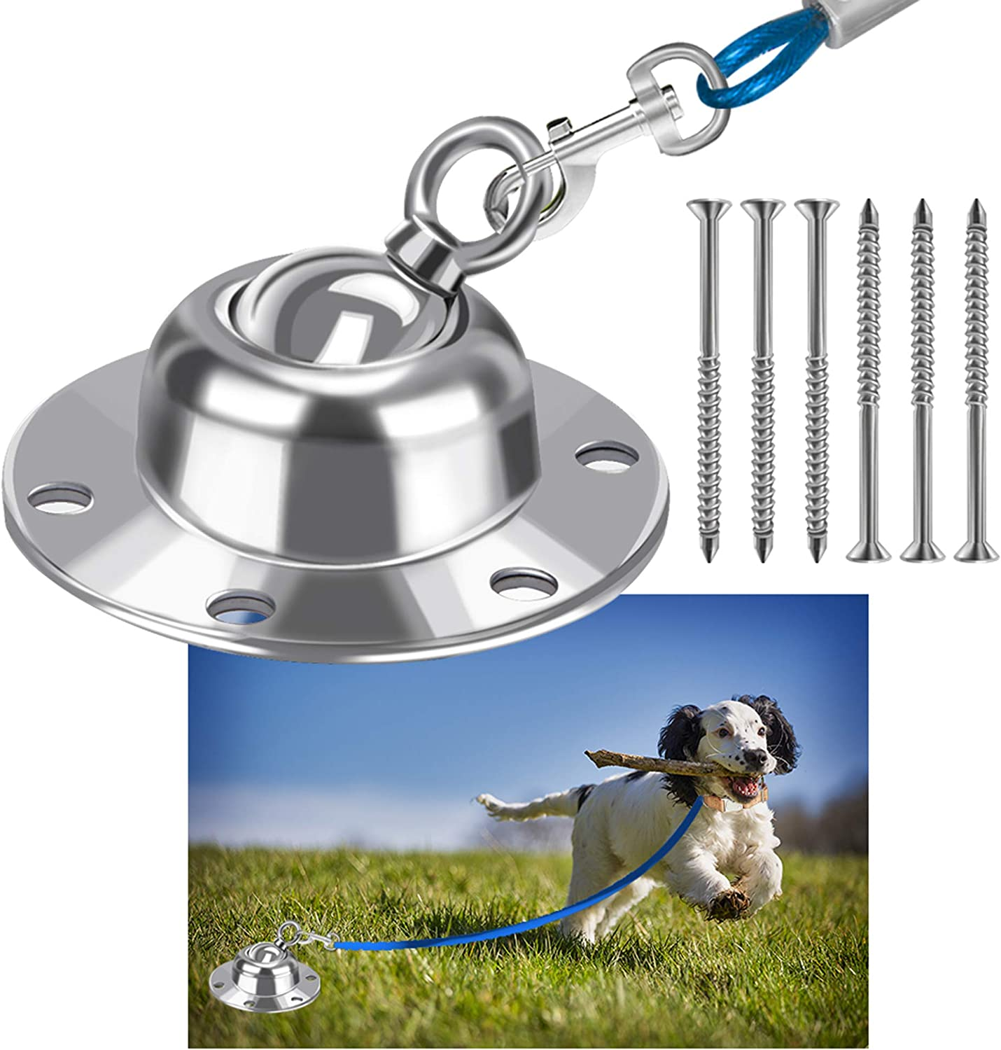 Highland Farms Select 360° Swivel Dog Tie Out Stake Dog Anchor - Heavy Duty Rust Proof Dog Yard Stake Holds 1000Lbs of Pull Force for Yard Camping Outdoor