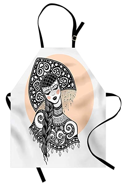 PMNADOU Russian Apron, Ethnic Slavic Woman in Folk Clothes Ornamental Moscow Graphic Art, Unisex