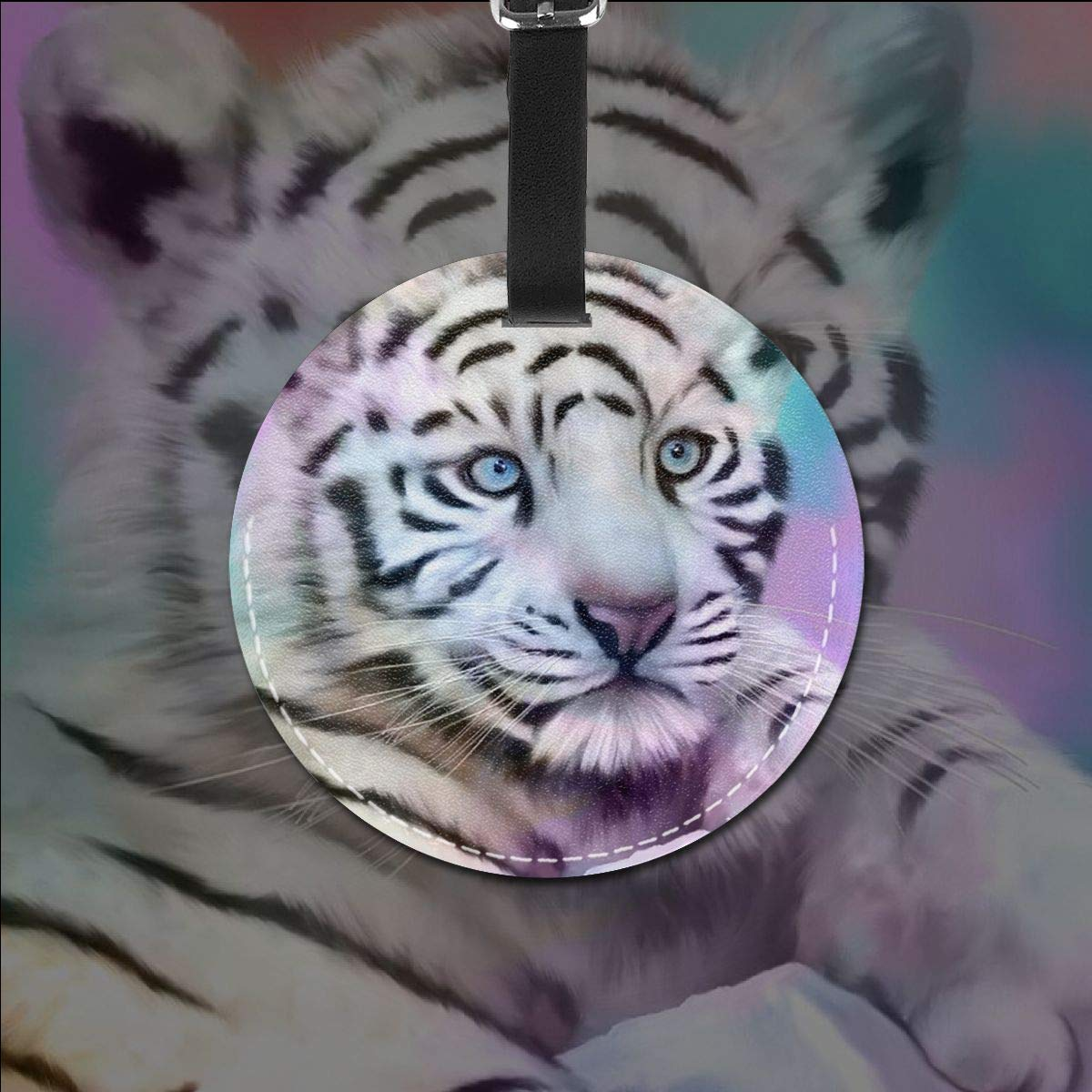 Free-2 Blue Eyes Tiger Baby Luggage Tag 3D Print Leather Travel Bag ID Card