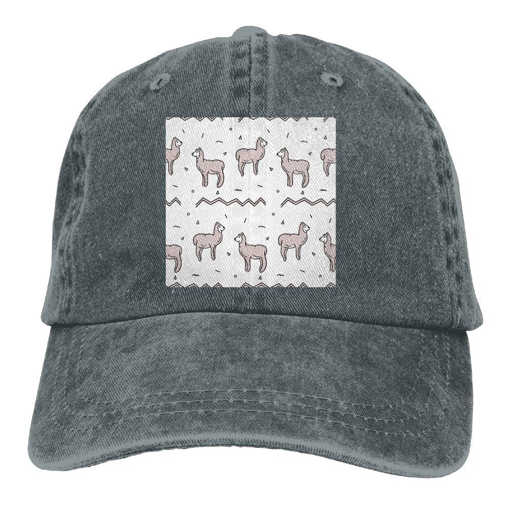 Trableade Llama In Desert Seamless Adult Sport Adjustable Structured Baseball Cowboy Hat