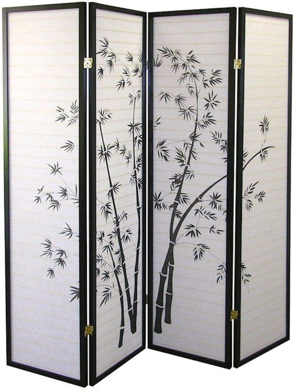 Legacy Decor Divisor de 4 Paneles, Negro, con impresión de bambú, diseño Oriental de Shoji: Amazon.es: Juguetes y juegos