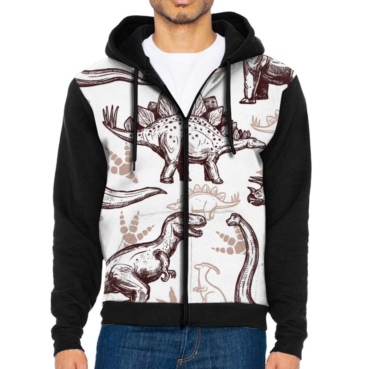 LFCLOSET Dinosaurs Footprints Pattern Lightweight Mans Jacket with Hood Long Sleeved Zippered Outwear