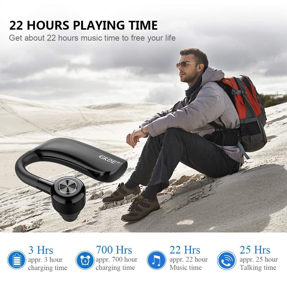 Negocios,Conducci/ón Auricular Bluetooth 4.2 Auricular Manos Libres con Duraci/ón 22 Horas Para IPhone Android Auriculares Bluetooth Inal/ámbrico con Cancelaci/ón de Ruido /& Sweatproof IPX4 para Oficina