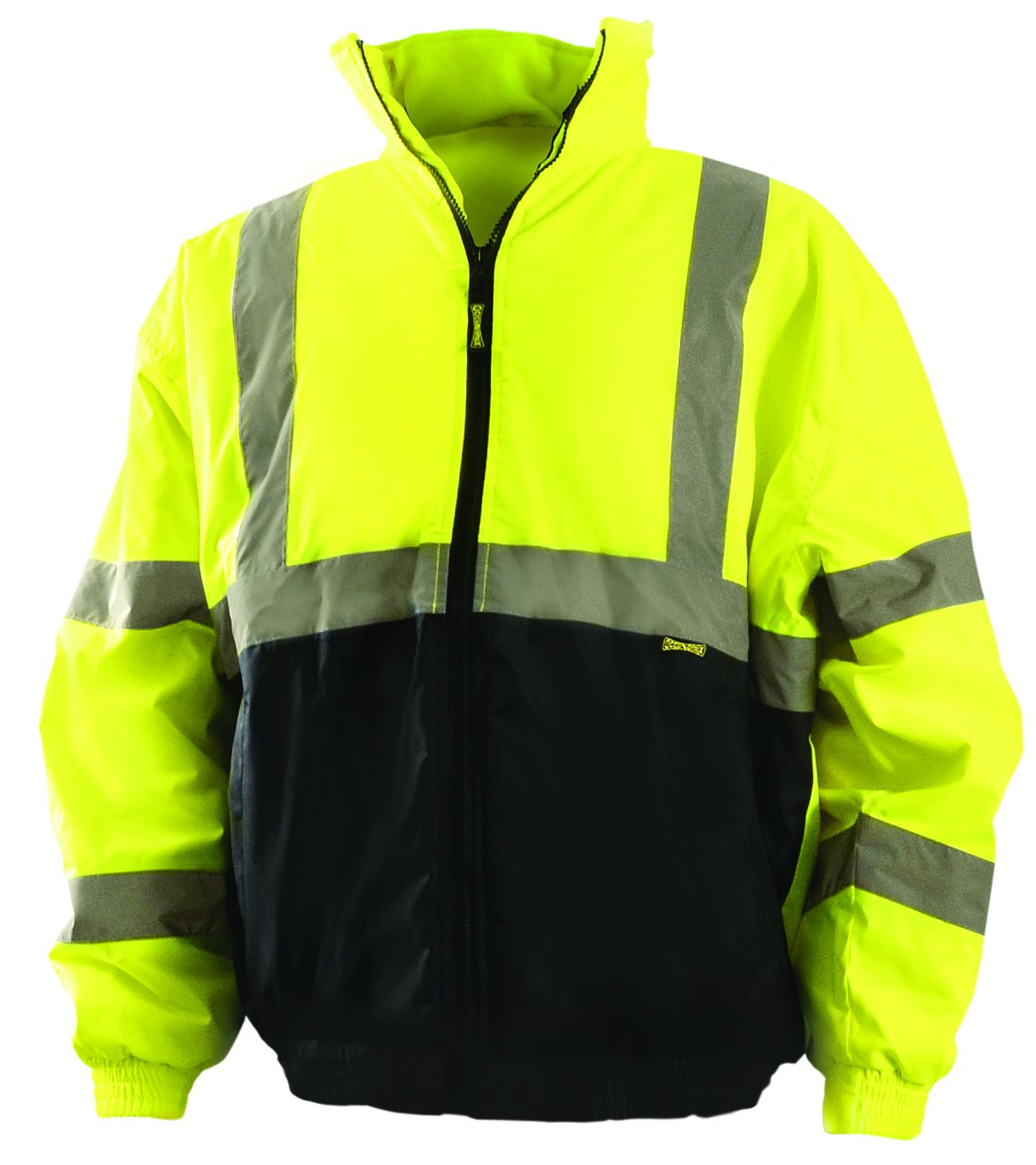 OccuNomix LUX-250-JB-BY2X High Visibility Quilted Black Bottom Bomber Jacket with 2 Front Pockets, Class 3, 100% ANSI Polyester, 2X-Large, Yellow