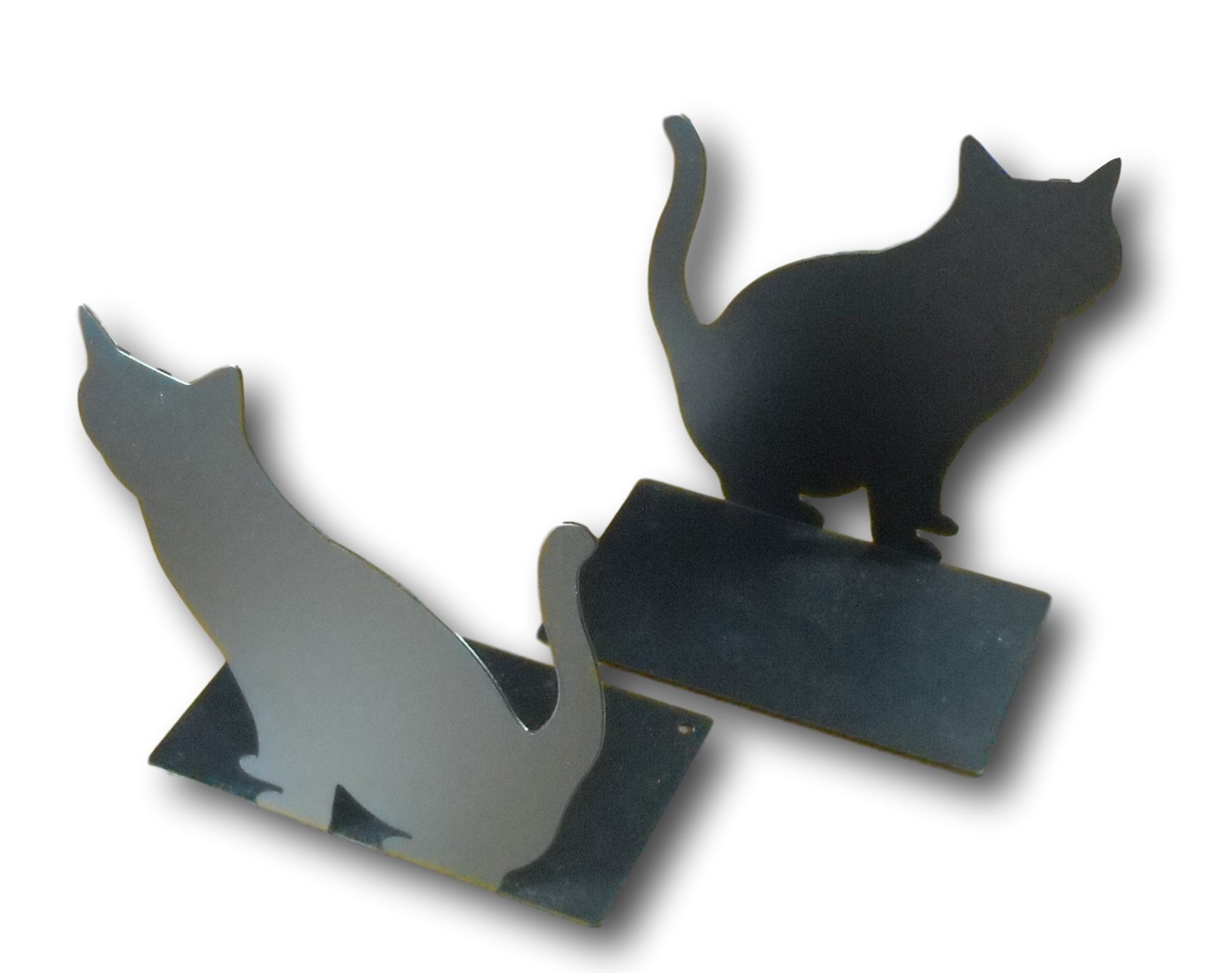 Cute Black Cat Kitty Mini Bookends Metal Book Ends Supports for Books Movies Dvds Video Games 3.93 x 4.33 inch (1 Pair)