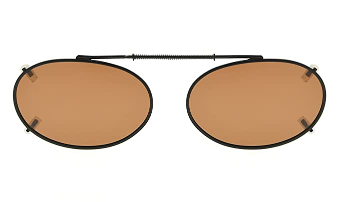 095a7a28ef Amazon.com  Oval Frame Rim Polarized Lens Clip On Sunglasses 50mm Wide x  31mm Height Millimeters  Clothing